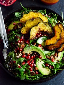 Autumn-Arugula-Salad-with-Caramelized-Squash-Spiced-Pecans-and-Pomegranate-Ginger-Vinaigrette-4